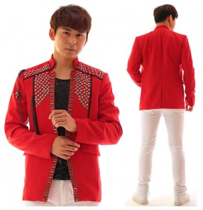 Men's rhinestones jazz dance red blazers night club dj singers host stage performance coats model show coats