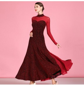 Women's red colored ballroom dancing dresses flamenco dresses waltz tango dance dresses