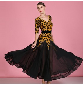Women's yellow colored flowers ballroom dancing dresses stage performance waltz tango dance dress