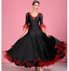 Women's diamond black with red ballroom dancing dress waltz tango foxtrot rhythm stage performance dance dress