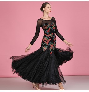 Women's printed ballroom dancing dresses competition waltz tango dancing dress costumes