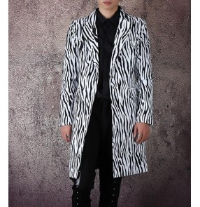 Men's zebra printd jazz singers host stage performance long blazers model show performance blazers coats