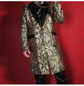 Men's gold printed jazz dance long blazers singer host dj  night club model show performance long coats