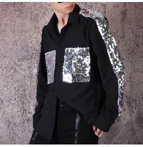 Men's jazz dance sequin shirts stage performance singers host night club dj dance tops
