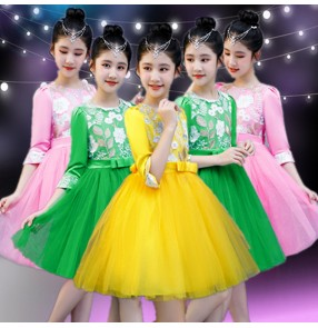 Girls children princess jazz dance dress flower girls model show singer host performing dresses