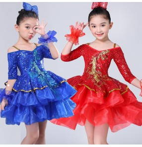 Girls jazz dance dress princes flower girls stage performance host chorus school competition show dress