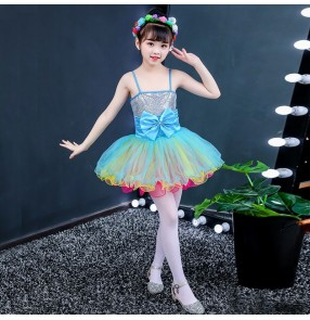 Children sequin jazz dance dresses kids chorus dress singers dress stage performance princess dresses