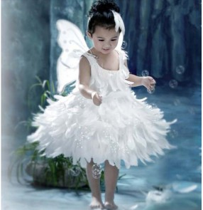 Kids halloween christmas party fairy angel cosplay feather dresses with wings princess photography anime drama cosplay dress