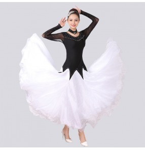 Women's diamond competition ballroom dancing dresses pink blak white tango waltz rhythem dance dresses