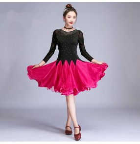 Women's black with fuchsia competition latin dance dresses salsa chacha rumba dance dress costumes
