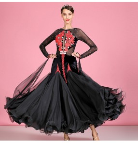 Women's black with red diamond competition ballroom dancing dresses foxtrot tango waltz tango dance dress