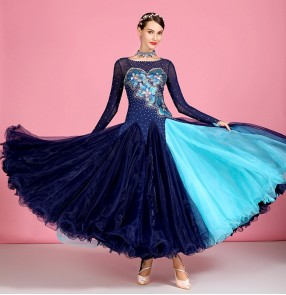 Women's navy diamond embroidered flowers competition ballroom dancing dresses waltz tango dance dress