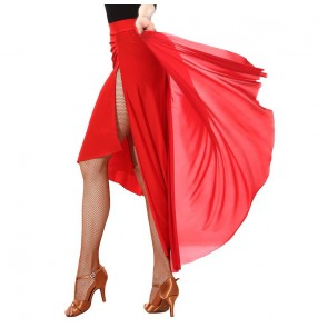 Women's red latin dance skirts stage performance side split long length latin skirts costumes