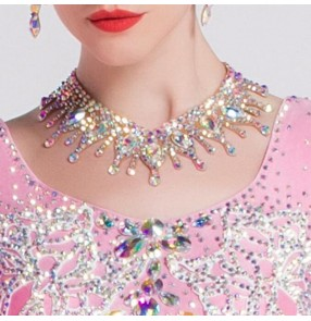 Dance Competition rhinestones necklace Women's competition ballroom latin dance diamond crystal choker