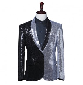 Men's silver with black sequins jazz dance blazers singers host blazers performance blazers drummer model show performing coat