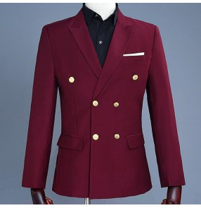 Men's wine colored host singers stage performance blazers model show performance coats blazers