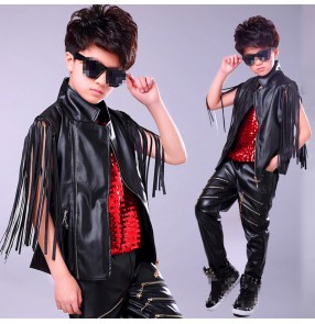 Boy's black leather hiphop jazz dance costumes street drmmer model show performance costumes modern dance outfits jacket and pants and vest