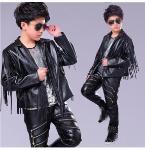 Boy jazz dance costumes modern street hiphop drummer stage performance outfits model show competition fringes jacket t shirt and pants