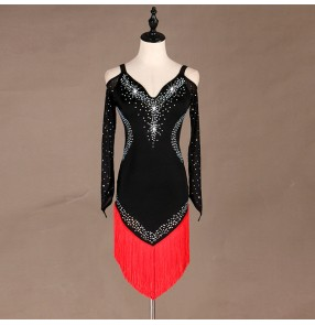 Women's black with red fringes diamond latin dance dresses rhythm salsa rumba chacha dance dress