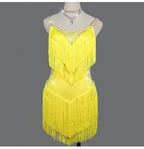 Women yellow fringes diamond competition latin dance dress stage performance rumba salsa chacha dance dress