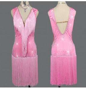Women's pink colore rhinestones competition latin dance dress salsa rumba samba dance dress