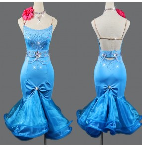 Women's rhinestones blue colored latin dance dresses with ruffles skirts competition salsa rumba chacha dance dress costumes