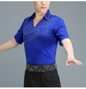 Men's royal blue rhinestones latin dance shirts ballroom dancing tops stage performance salsa rumba chacha dance tops