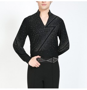 Men's rhinestones latin dance shirts stage performance ballroom chacha salsa dance tops shirts