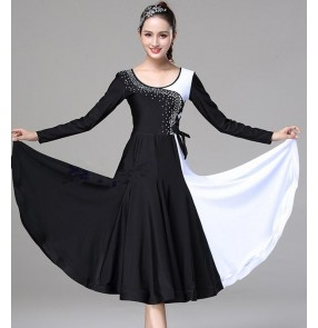 Women's black with red and white rhinestones ballroom dancing dresses stage performance waltz tango dance dress