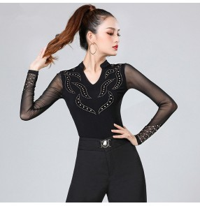 Women's black color rhinestones latin dance shirts ballroom dance tops