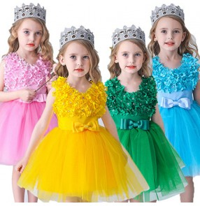 Girls jazz dance dresses children ballet princess dress school chorus christmas halloween model show party stage performance flower girls dresses