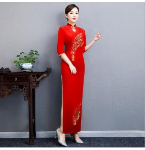 Women's red velvet chinese dresses traditional chinese qipao dresses miss etiquette dress oriental style evening party dresses show dress