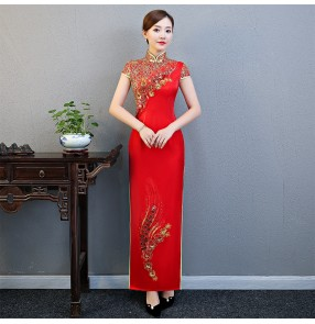 Chinese Dress chinese traditional qipao dresses women evening party dress oriental miss etiquette stage performance host party dress