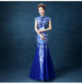 Chinese dress royal blue printed china chinese traditional qipao dress host model show miss etiquette stage performance evening party dress
