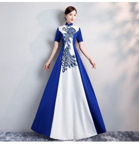 Chinese Dresses traditional qipao dresses host stage performance photos miss etiquette show performance evening party dress