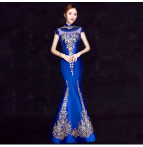 Chinese dress qipao dress evening dress oriental miss etiquette model show performance host dresses