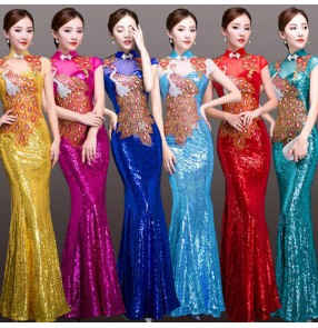 Chinese dresse qipao retro oriental dress sequins peacock pattern mermaid floor length cocktail evening party host model show dress