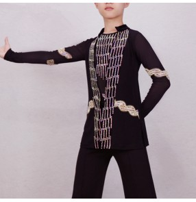 Boy rhinestones competition latin dance shirts ballroom dancing tops shirts with bodysuit