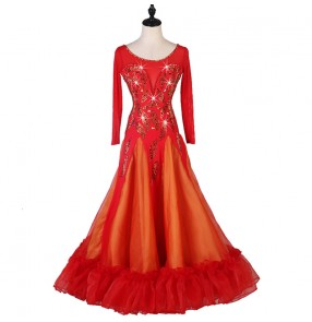 Women's competition stones ballroom dancing dresses girls ballroom dress stage performance waltz tango dance dress