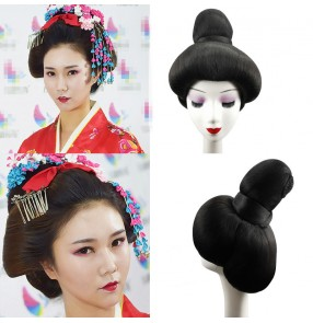 Japanese women's traditional kimono dress wig japanese geisha drama model show cosplay wig without headdress