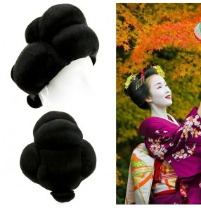 Japanese women geisha traditional kimono wig stage performance model show drama photography cosplay wig without headress