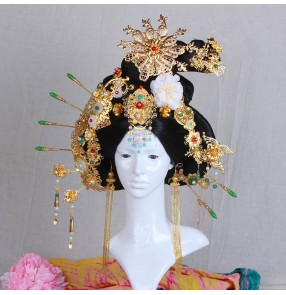 Chinese traditional ancient Tang Dynasty Empress Queen cosplay wig with phoenix headdress model show photography cosplay wig with head piece