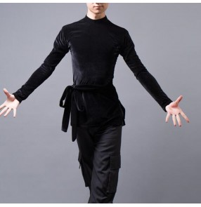 Men's adult black white velvet latin ballroom dance tops shirts