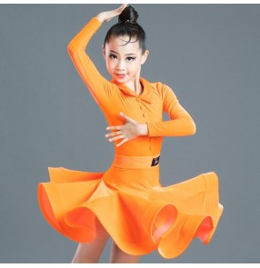 Girls kids orange colored latin dance dress children stage performance ballroom latin salsa dance dress costumes
