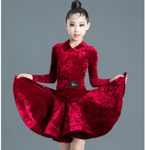 Kids children wine black velvet latin dance dresses stage performance latin dance costumes