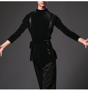 Men's velvet latin dance shirts adult ballroom waltz tango chacha dance tops shirts