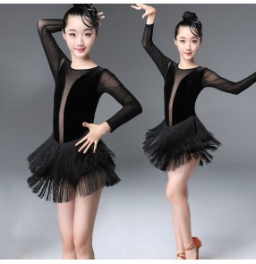 Kids black velvet tassels latin dance dresses children salsa rumba samba latin dance cotumes dress