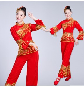 Women's red colored chinese folk dance costumes china yangko fan umbrella dance dresses