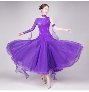 Women's royal blue red violet lace ballroom dancing dresses waltz tango dance dresses costumes