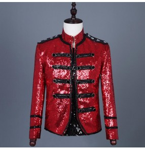 jazz dance Red sequin jacket for men's male host singers punk rock jackets gogo dancers stage performance short length coats